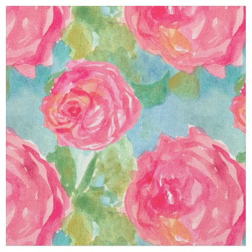 Pink Cabbage Roses Watercolor Flower Art Fabric