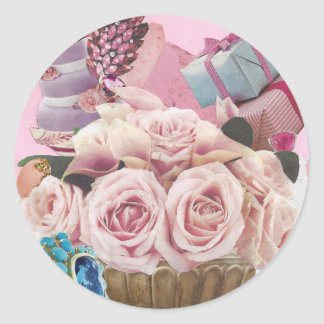 Pink Cabbage Roses with Turquoise Round Sticker