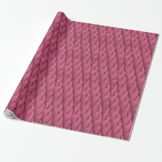 Pink cable knitting wrapping paper