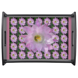 Pink Cacti Flower Serving Tray