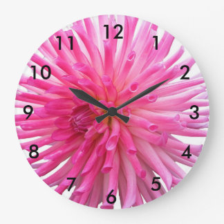 Pink cactus dahlia flower large clock