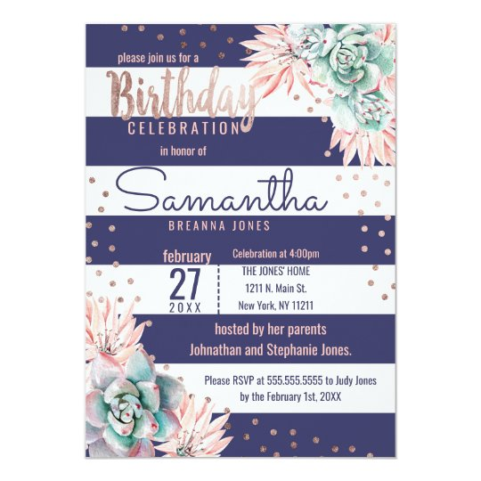 Pink Cactus Navy Stripes Rose Gold Birthday Party