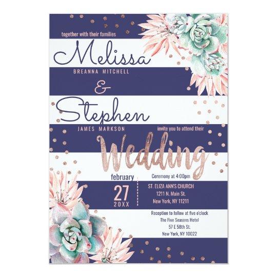Pink Cactus Navy Stripes Rose Gold Dots Wedding