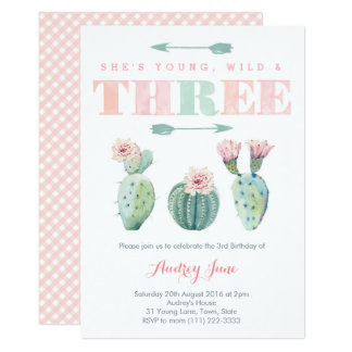 Pink Cactus Third Birthday Party Cards for Girl