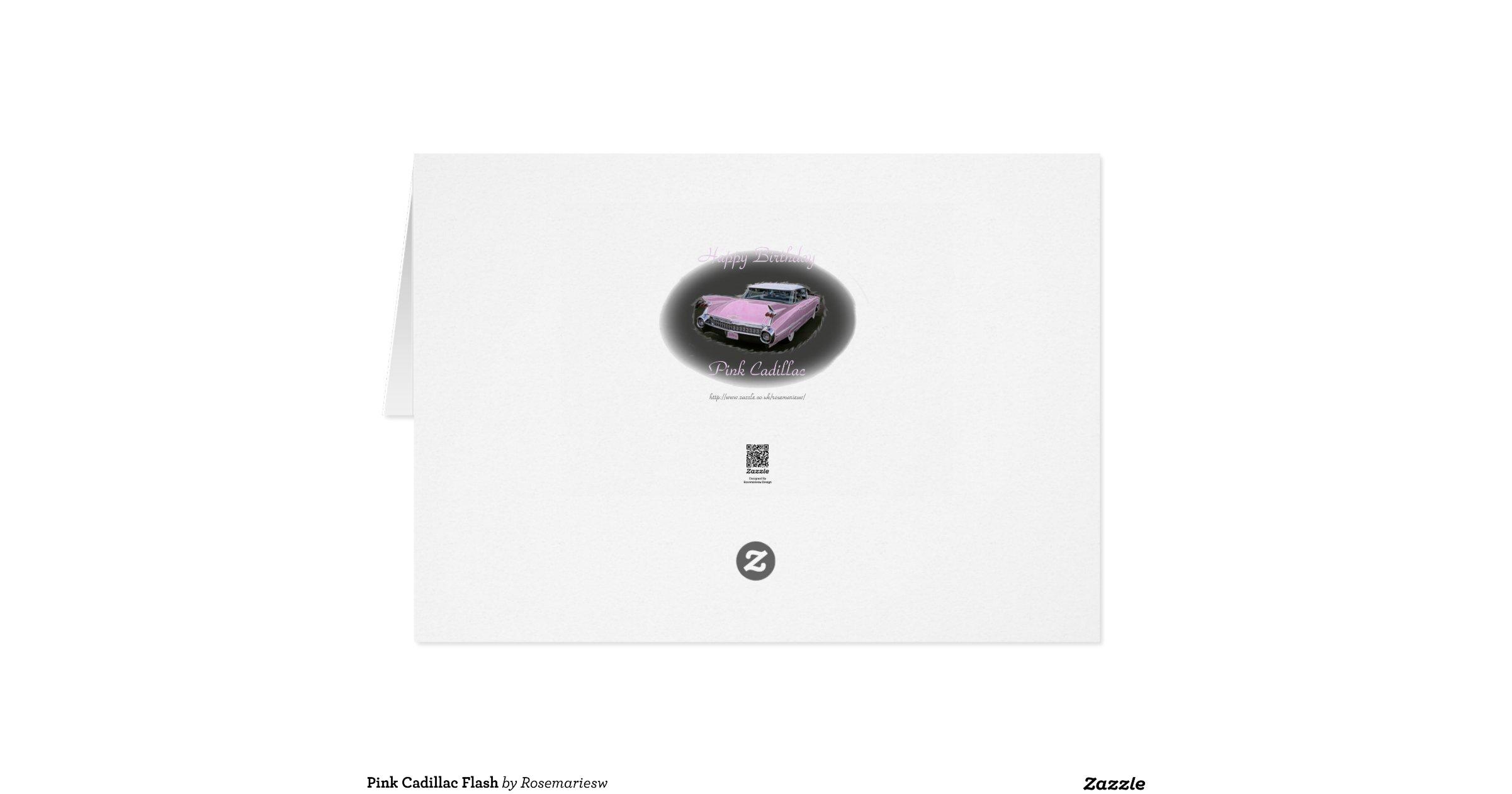 pink cadillac flash greeting card