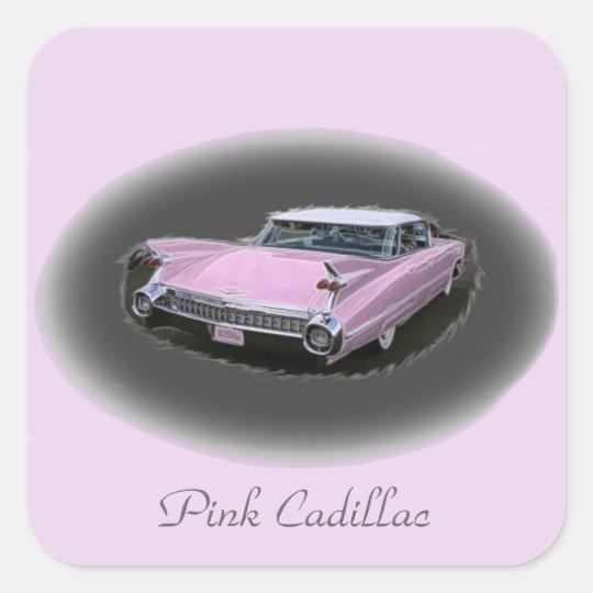 Pink Cadillac Flash Square Sticker