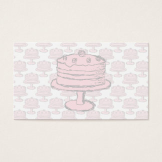 Pink Cake on Pink Cake Pattern. Business Card