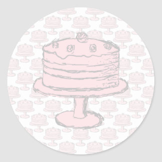 Pink Cake on Pink Cake Pattern. Classic Round Sticker
