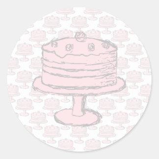 Pink Cake on Pink Cake Pattern. Round Sticker