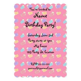 Pink cake pattern 13 cm x 18 cm invitation card