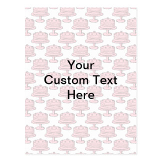 Pink Cake Pattern with Custom Text. Postcard