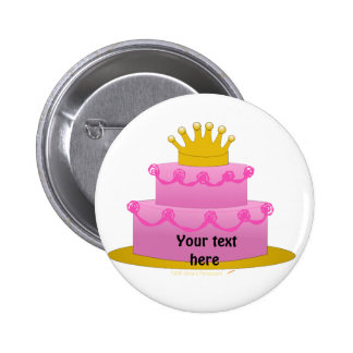 Pink Cake With Crown Birthday 6 Cm Round Badge