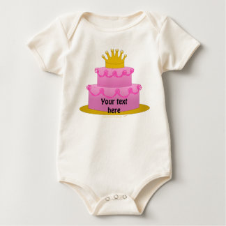 Pink Cake With Crown Birthday Baby Bodysuit