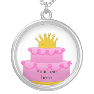 Pink Cake With Crown Birthday Round Pendant Necklace