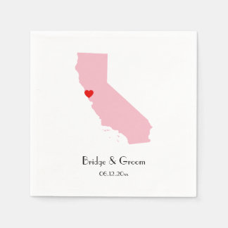 Pink California Personalized Wedding Anniversary Paper Napkin
