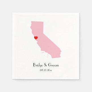 Pink California Personalized Wedding Anniversary Paper Serviettes