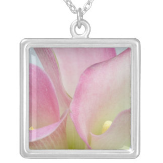 Pink Calla Lilies Silver Plated Necklace
