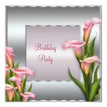 Pink Calla Lily Birthday Party Invitation Template 13 Cm X 13 Cm Square Invitation Card