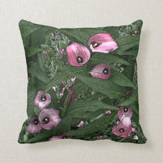 Pink Calla Lily Bride Groom Names Date Woodcut Throw Pillow