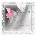 Pink Calla Lily Flourish Frame Wedding Invitation