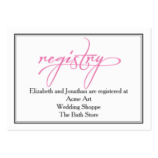 Pink Calligraphy Wedding Registry Information Card Pack Of Chubby Business Cards