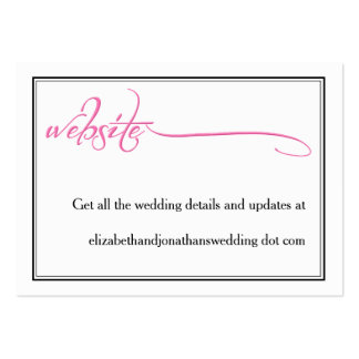 Pink Calligraphy Wedding Website Information Card Pack Of Chubby Business Cards