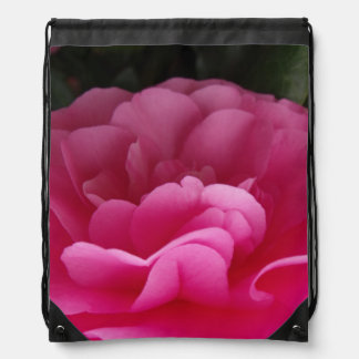 Pink Camellia Flower Close Up Drawstring Bag