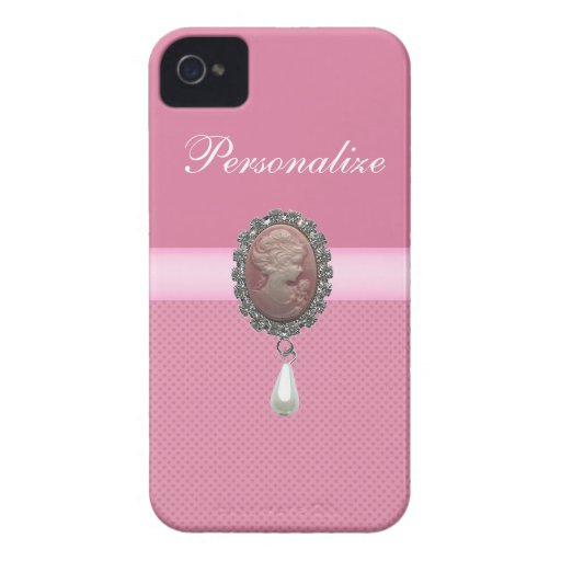 Pink Cameo Brooch & Pearl & Hearts Printed iPhone 4 Case