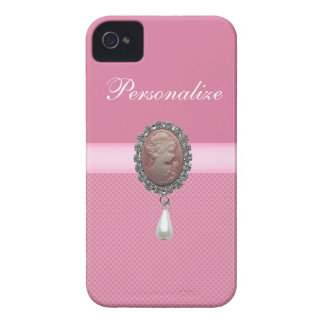 Pink Cameo Brooch & Pearl & Hearts Printed iPhone 4 Covers