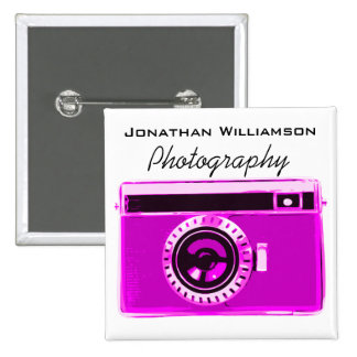 Pink Camera Photography Business 15 Cm Square Badge
