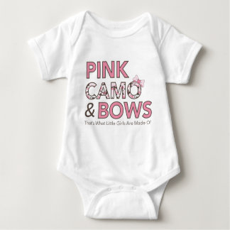 """Pink Camo and Bows..."" Baby Bodysuit"