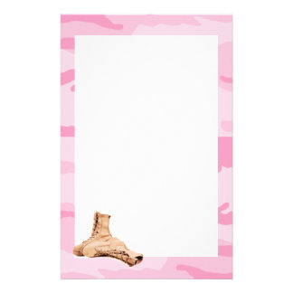 Pink Camo and Combat Boots Stationery