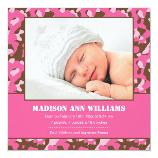 Pink Camo Baby Photo Birth Announcement