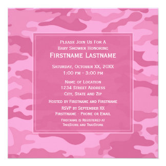 Pink Camo Baby Shower or Party Custom Invitation