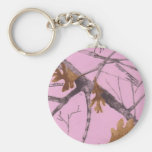 Pink Camo Basic Round Button Key Ring