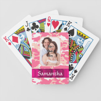 Pink camo bicycle playing cards