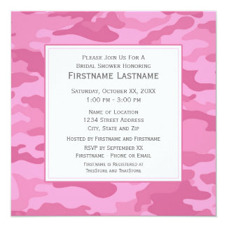 Pink Camo Bridal Shower or Engagement Party 13 Cm X 13 Cm Square Invitation Card