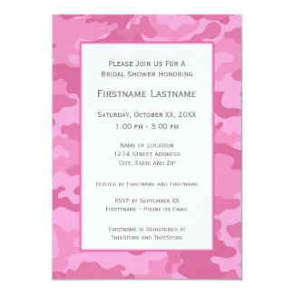 Pink Camo Bridal Shower or Engagement Party 13 Cm X 18 Cm Invitation Card