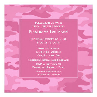 Pink Camo Bridal Shower or Engagement Party Announcement