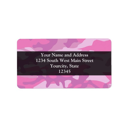 Pink Camo Camoflauge Address Label