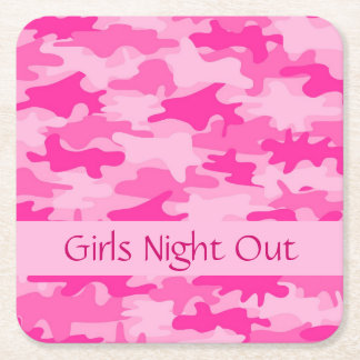 Pink Camo Camouflage Girls Night Out Party Square Paper Coaster