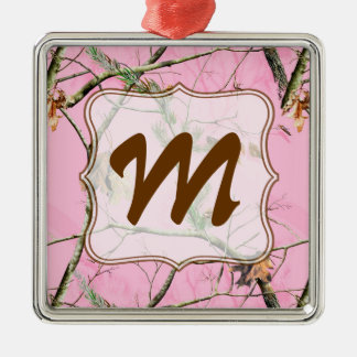 Pink Camo Camouflage Monogram Initial Ornament
