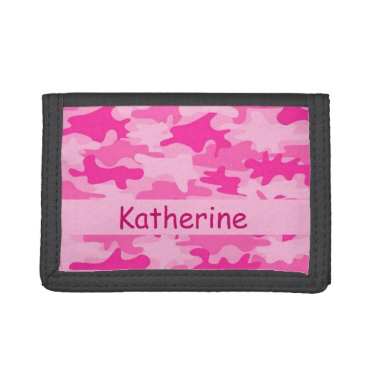 Pink Camo Camouflage Name Personalised Tri-fold Wallet
