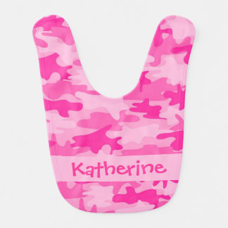 Pink Camo Camouflage Name Personalized Baby Bibs