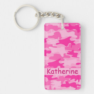 Pink Camo Camouflage Name Personalized Key Ring