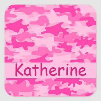 Pink Camo Camouflage Name Personalized Square Sticker