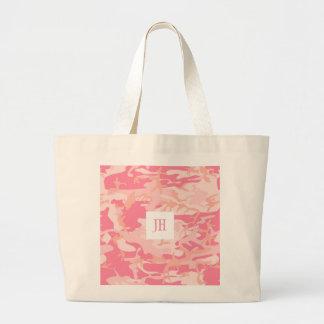 Pink Camo Camouflage Print Custom Monogram Option Jumbo Tote Bag