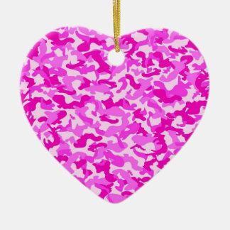 Pink Camo Ceramic Heart Decoration
