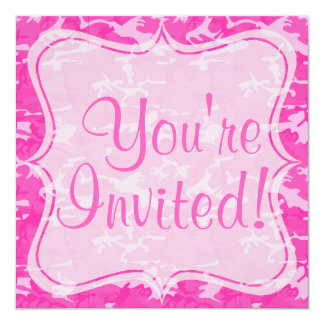 "Pink Camo Custom 5.25"" x 5.25"" Invitations"