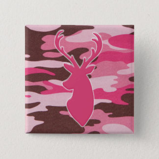 Pink camo deer head 15 cm square badge